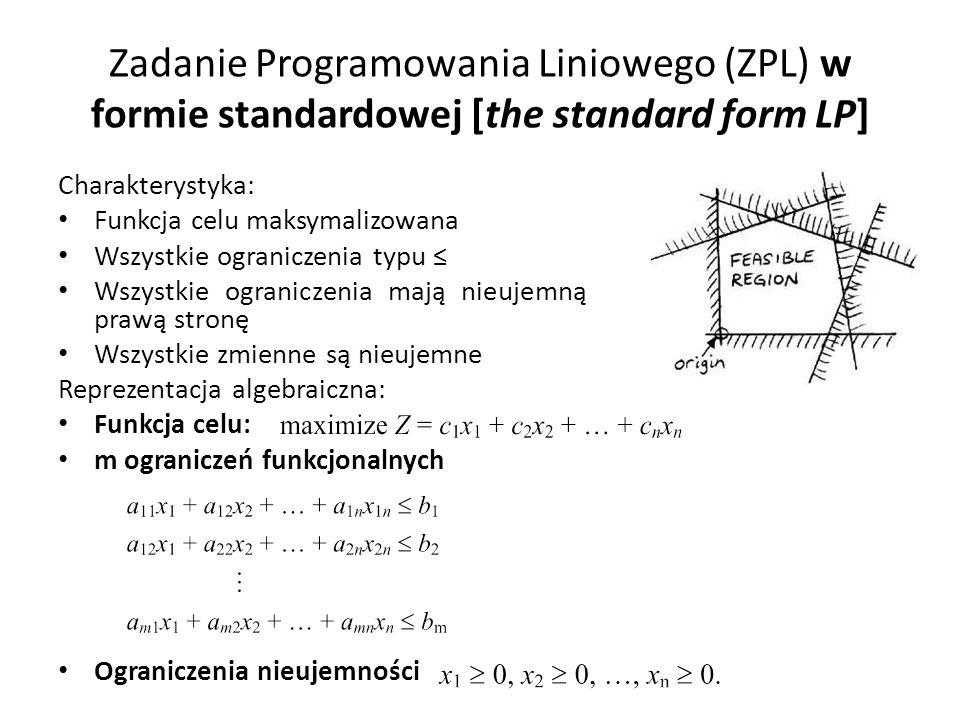 Zadanie Programowania Liniowego (ZPL) w formie standardowej [the standard form LP]